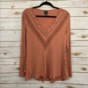 Daytrip V Neck Casual Lace Side Panel Blouse